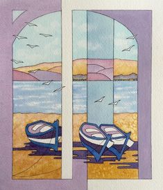 Beach View by Jenny Harris - Paint a seascape or harbour scene to win copies of David Bellamy books from Search Press Painting Competition, Seascape Paintings, David, Scene, Kids Rugs, Search, Gallery, Artist, Books