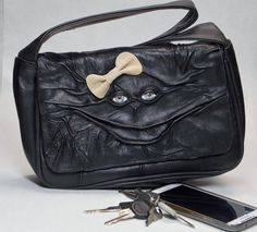 Black Leather Purse With Face Goth Handbag by pippenwycks on Etsy, $95.00