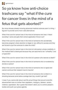 What if the cure for cancer .....