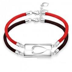 赤い糸・黒い糸 ペアブレスレット刻印 人気 ペア ブレスレット シルバー メンズ ブレスレット 彼氏 彼女 誕生日 磁石