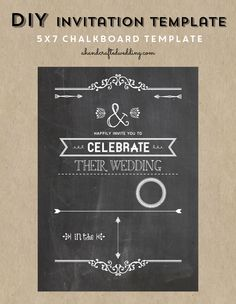 Check out this DIY Chalkboard Wedding Invitation Template via ahandcraftedwedding.com #invitation #chalkboard