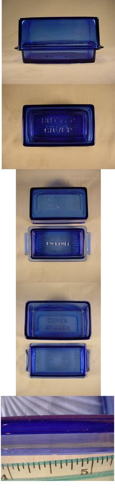 This is a very rare Hazel Atlas cobalt blue depression glass one pound butter dish.