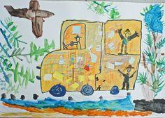 Photo Art Lesson Plans, Art Lessons, Art For Kids, Creations, Education, Children, Painting, Buses, Art Ideas