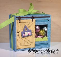 Debbie's Designs: 3D Thursday and FREE Project Sheet. Stampin' Up! Barn Door stamp set, Sliding Door Dies and Sweet Soiree Designer Paper. Easter Treat Box. Debbie Henderson #stampinup #easter #treatbox #barndoor #slidingdoor #stampinup #debbiehenderson #debbiesdesigns #sweetsoiree