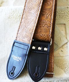 Light Brown Western Guitar Strap vegan hand by couchguitarstraps, $49.95