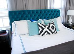 DIY Style on a Budget:  How To Make a Tufted Velvet Headboard for $350   Glitter & Goat Cheese