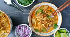 Khao Soi - Northern Thai Curry — Wanderings in My Kitchen Easy Asian Recipes, Thai Recipes, New Recipes, Soup Recipes, Cooking Recipes, Healthy Recipes, Healthy Breakfasts, Healthy Snacks, Spinach Feta Pie