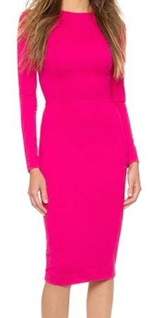 Pink long sleeved bodycon dress