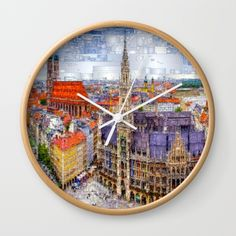 Munich Cityscape Wall Clock by Rafael Salazar | Society6