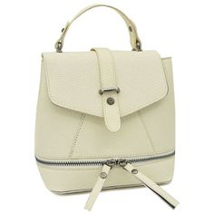 Zips Solid Color PU Leather Satchel ($30) ❤ liked on Polyvore featuring bags, handbags, zipper bag, satchel style purse, beige handbags, zip bags and satchel bag