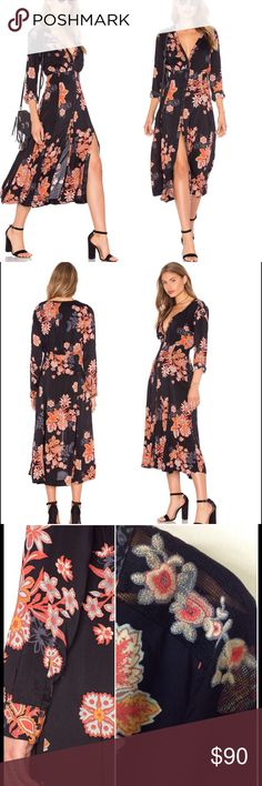 """Free People Print Dress-Miranda Make a flirtatious entrance in a breezy midi-length dress enlivened with vibrant floral embroidery and finished with tassel-trimmed ties and a split hemline. 47"""" length. Front button closure. V-neck. Long sleeves with single-button cuffs. Partially lined. 100% rayon. Dry clean or machine wash cold, line dry. Reasonable offers considered. No trades. Free People Dresses Midi"""