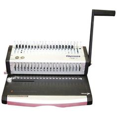 """Tamerica Eco-21 Plastic Comb Binding Machine with Punch. The Tamerica Eco-21 Plastic Comb Binding Machine is an economical Manual Comb Binding System that punches sheets up to A4 size (roughly 8-1/4"""" x 11-3/4"""" in size). The Eco-21 is manufactured with all metal construction, punching depth adjustment, 21-disengageable pins to allow for all sheet sizes up to 11-3/4"""" in length, with open ends and punch depth adjustment."""