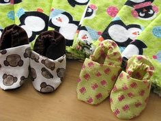 fringed burp cloths and baby shoes (DIY)