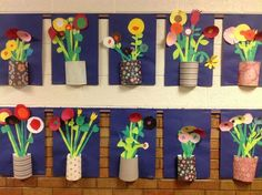 Spring flowers art for kids, paper flowers kids, flower crafts kids, spring crafts fo Kids Crafts, Flower Crafts Kids, Arts And Crafts, Kids Diy, Decor Crafts, Wood Crafts, Spring Art Projects, Art Projects For Adults, Spring Crafts