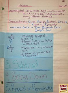 math journals, interactive notebooks, division