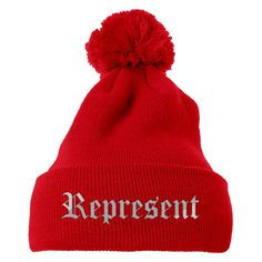 Represent Embroidered Knit Pom Cap