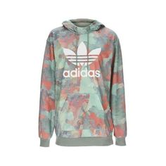 Pastel Long Hoodie by Adidas Originals (€64) ❤ liked on Polyvore featuring tops, hoodies, multi, green hooded sweatshirt, camouflage hoodie, camo top, green hoodies and longline hoodie