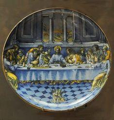 Majolique de Faenza Coupe : La Cène d'après une composition de Raphaël gravée par Marc-Antoine et Marco Dente FAENZA, vers 1525