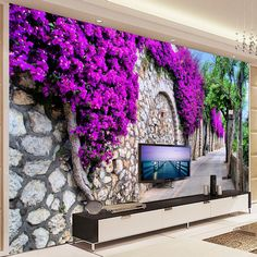 Photo Wallpaper Stereo Purple Flowers Brick Wall Small Street Mural Living Room Cafe Dining Room Romantic Interior Home Decor Photo Wallpaper, Wall Wallpaper, Wall Stickers Murals, Wall Murals, Dining Room Wallpaper, Pictures To Paint, Painting Pictures, Home Design Magazines, Street Mural