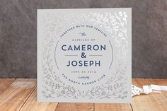 Floral Frame Foil-Pressed Wedding Invitations by Lori Wemple at minted.com