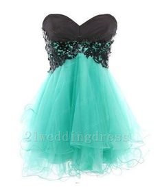 Custom Made  Black Lace Turquoise Short Prom by 21weddingdress