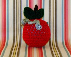 CROCHET APPLE PINCUSHION-Red Apple With Green Leaves And Worm-Googly Eyes-Cute-Adorable-Fun-Sewing-Notions-Pins-#0006 by TheShabbyJean on Etsy https://www.etsy.com/listing/259480692/crochet-apple-pincushion-red-apple-with