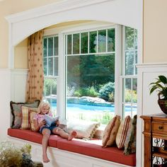 Window seat in family Room Design.