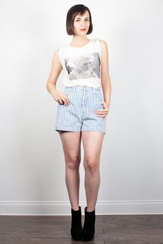 Vintage 1980s GUESS Denim Shirts High Waisted Jean Shorts Blue White Striped 80s High Waisted Denim Shorts Guess Jeans Hipster 32 L Large by ShopTwitchVintage #vintage #etsy #80s #1980s #shorts #denim #denimshorts #jeanshorts #guess