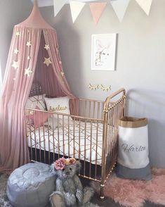 41 Ideas For Baby Girl Nursery Colors Princesses Baby Girl Room Decor, Baby Room Design, Baby Bedroom, Nursery Room, Bed Room, Baby Girl Rooms, Nursery Decor, Room Girls, Baby Girl Bedding