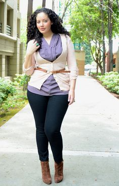 Need to overcome my fear of the belted cardigan. This look actually works for my…