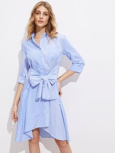 Shop Exaggerated Bow Belt Hidden Placket Mixed Stripe Shirt Dress online. SheIn offers Exaggerated Bow Belt Hidden Placket Mixed Stripe Shirt Dress & more to fit your fashionable needs.