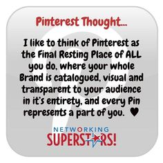 Pinterest Pins ARE Your Content...  Every post you do every blog you write every capture page product and ad you create IS your Brand!  Let people see Your Brand in it's full glory on Pinterest  Start simple build up ... but be there!   Jacs