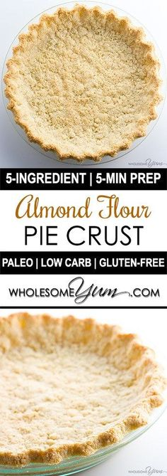 Almond Flour Pie Cru Almond Flour Pie Crust Recipe 5 Ingredients (Paleo Low Carb Gluten-free) - This low carb paleo almond flour pie crust recipe is so easy to make. Just 5 minutes prep and 5 ingredients! Gluten-free sugar-free dairy-free and keto. Low Carb Desserts, Gluten Free Desserts, Gluten Free Recipes, Low Carb Recipes, Cooking Recipes, Diet Desserts, Food Deserts, Low Carb Cakes, Easy Gluten Free Meals