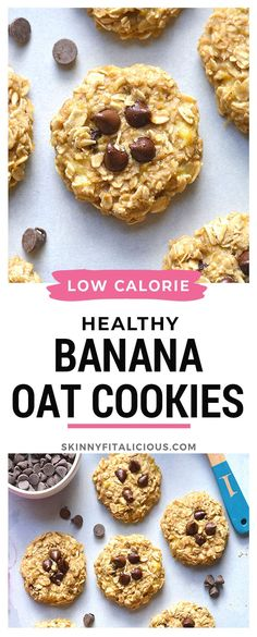 Low Calorie Cookies, Banana Oat Cookies, Healthy Oatmeal Cookies, Healthy Cookie Recipes, Healthy Deserts, Healthy Baking, Low Calorie Crackers, Vegan Recipes, Banana Recipes Low Calorie