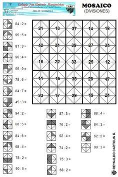 Mosaico - divisiones Coding For Kids, Math For Kids, Fun Math, Math Games, Math Activities, Mental Maths Worksheets, Math Resources, Algebra Basica, Math Division