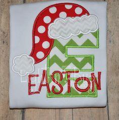 Santa Hat Monogram shirt by LightinBugKreations on Etsy https://www.etsy.com/listing/256799173/santa-hat-monogram-shirt