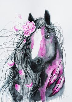 Horse by Jonna Lamminaho - Lale's Pinnwand - Pferde Horse Drawings, Animal Drawings, Cool Drawings, Pretty Horses, Beautiful Horses, Arte Fashion, Unicorn Art, Arte Pop, Equine Art