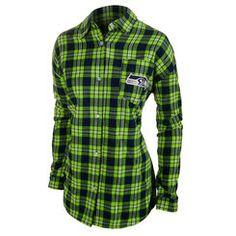 Women's Klew College Navy/Neon Green Seattle Seahawks Wordmark Flannel Long Sleeve Shirt
