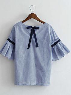 Blue Bell Sleeve Self-Tie Bow Back Striped Blouse -SheIn(Sheinside)