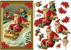 Santa In The Snow Decoupage Card Front on Craftsuprint designed by Sandra Carlse - This is a lovely festive vintage christmas card front. There are all the elements on this sheet for you to be able to make up this card front including the pretty poinsettia flowers that you can add to the four corners if you wish. Thank you for showing an interest in my design. Please click on my name above to view more of my designs which include 3d Stepper Card Kits, 3d Easel Card Kits, Decoupage Cardmaking…