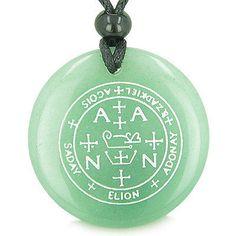 Sigil of the Archangel Raphael Magical Amulet Green Quartz Pendant Necklace QXuM9owp