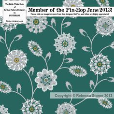 Pin Hop June - Find New Designers - Rebecca Stoner Surface Pattern Design Aqua, Turquoise, Surface Pattern Design, Stoner, Florals, Print Patterns, Charcoal, Trail, About Me Blog
