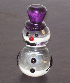 Glass Snowman Paperweight Christmas & Winter by Amigami...OH ! I LIKE THIS ONE FOR MY DESK !