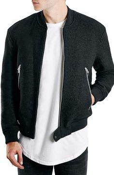 Topman Boiled Wool Blend Bomber Jacket