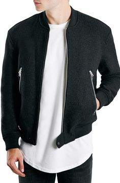Topman Boiled Wool Blend Bomber Jacket