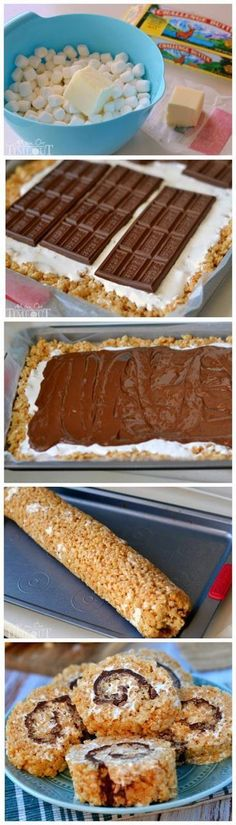 S'mores Rice Krispies Treats Pinwheels. more here http://artonsun.blogspot.com/2015/04/smores-rice-krispies-treats-pinwheels.html