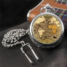 Antique World Map (old map) Travellers Pocket Watch Modern Pocket Watch, Pocket Watch Antique, Old Pocket Watches, Antique World Map, Men Style Tips, Cufflinks, Personalized Items, Antiques, Accessories