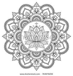 Circular pattern in form of mandala with lotus for Henna, Mehndi, tattoo, decora. Kreismuster in F Mandala Art, Mandala Drawing, Mandala Painting, Dot Painting, Lotus Mandala Design, Mandala Doodle, Circular Pattern, Mandala Pattern, Zentangle Patterns