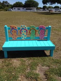 Image may contain: people sitting, grass and outdoor – would love having this! Beach Furniture, Yard Furniture, Decorating Flip Flops, Porch Decorating, Beach Crafts, Summer Crafts, Painted Chairs, Painted Furniture, Flip Flop Craft