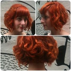 red headed bobs | bob # curly # red head # short hair Love the back.